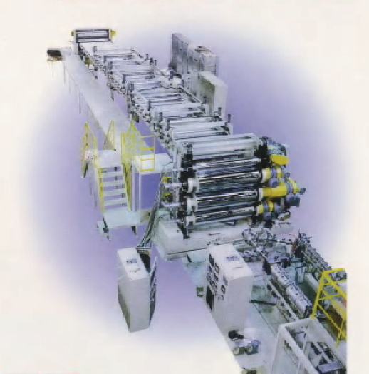 Sheeting equipment of large volume extrusion